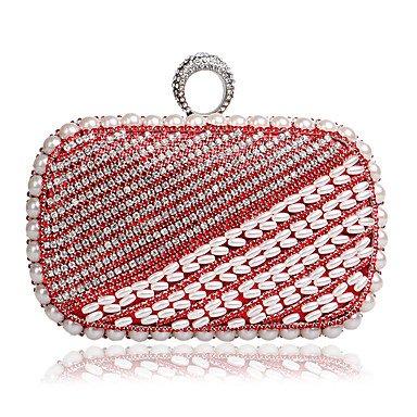 pwne L. In West Frauen ' S Das Elegante Luxushotel Handgefertigten Perle Diamanten Abend Tasche Red