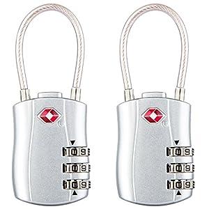 Diyife TSA bagages serrures, [Nouvelle version] [Lot de 2] à 3chiffres Cadenas de sécurité, Combinaison Cadenas, Code Serrure pour voyage valises Sac de voyage portables etc. Argent
