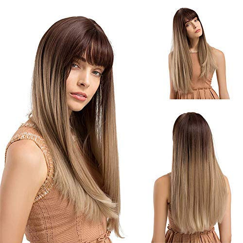 Honsin Women Brown Wig with Bang Long Gradient Color Synthetic Hair for Cosplay Dating - Womens Hängematte