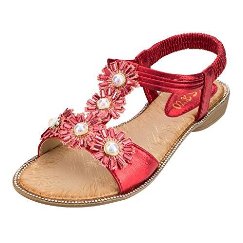 Vovotrade_ scarpa Sandali Donna con Tacco Base per Le Donne Estate Bohemia Girasole Cristallo Sandali Piatti Beach Peep Toe Shoes