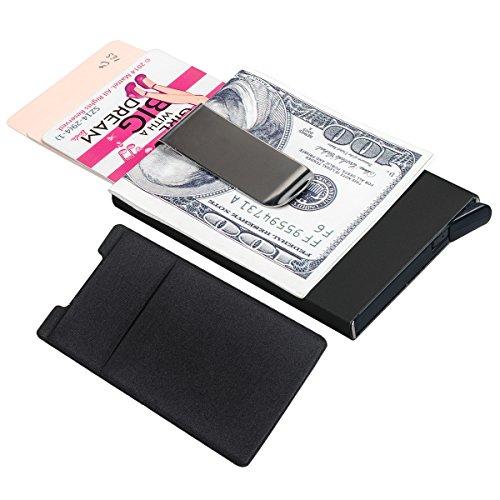 Security Shield Tool (Fency RFID Kreditkarte blockierender Halterung Aluminium & 3m Aufkleber, Mappen, für Mann Frauen Business Automatische Popup Karte Halter - schwarz)