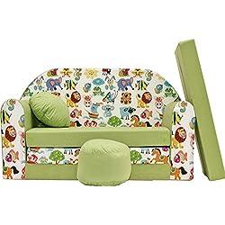 PRO COSMO Z5, sofá Cama con Puff/reposapiés/Almohada para niños, Tela Verde, 168x 98x 60cm