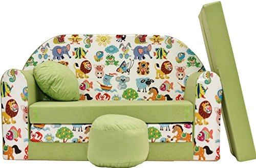 Pro cosmo z5, divano letto per bambini con pouf/poggiapiedi/cuscino, in tessuto verde, 168x 98x 60cm