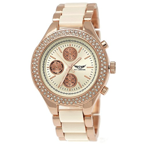 Elegante Ny London Damen-Uhr Strass Analog Quarz Armband-Uhr in Beige Rose-Gold Chronograph Optik Uhr