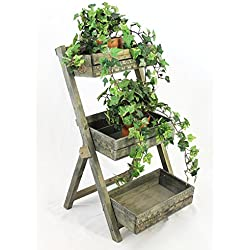 12068 Escalera de flores, de madera, 60cm, florero en escalera, estantería para plantas