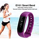 Diggro ID101 - Pulsera Inteligente Reloj Smartwatch IP67 Cámara alejada Sport Cuenta Pasos, Podometro, Calorías, Distancia, Ritmo Cardiaco, Call/SMS, Recordatorio Sedentaria (Púrpura)
