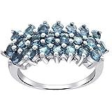 Anillo De Topacio Azul Para Las Mujeres Joyería Orquídea | Topacio Azul Joyería Para Las Mujeres | Anillo De Bodas Para Las Mujeres | 1,98 Ctw Talla del anillo 11,5