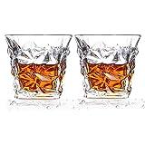 Cooko Diamond Whiskey Gläser, Bleifreie Kristallgläser, 10.6 oz Scotch Whiskey Tumbler, 2 Wein Gläser