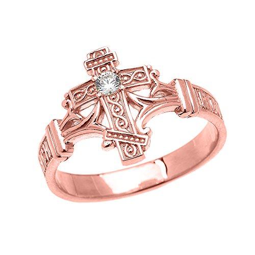 Bague Femme 10 Ct Or Rose Solitaire Diamant Orthodoxe Croix Avec Chiffrée Russe Prière