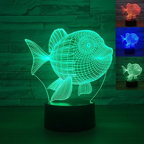 Jinson well 3D fisch Lampe optische Illusion Nachtlicht, 7 Farbwechsel Touch Switch Tisch Schreibtisch Dekoration Lampen perfekte Weihnachtsgeschenk mit Acryl Flat ABS Base USB Kabel kreatives Spielzeug