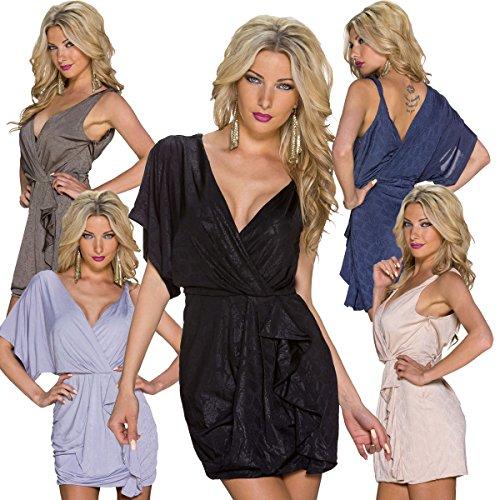 K1072 Fashion4Young Damen Minikleid kleid im Wickeloptik mit V-Dekolleté dress 5 Farben 3 Größen Schwarz