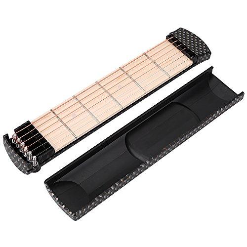 Dilwe Guitarra de Bolsillo, 6 Fret Guitar Pocket Practice Portable Instrumento de Guitarra de 6 Cuerdas Guitarra Chord Trainer para Principiante (Zebra-Stripe)