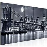 Bilder New York City Wandbild 200 x 80 cm Vlies - Leinwand Bild XXL Format Wandbilder Wohnzimmer Wohnung Deko Kunstdrucke Schwarz Weiss 5 Teilig - MADE IN GERMANY - Fertig zum Aufhängen 606755a
