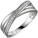 JOBO Damen Ring 925 Sterling Silber mit Zirkonia Silberring Größe 62