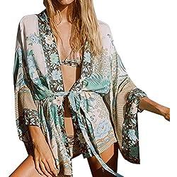 DEELIN Blusas De La Blusa De La Rebeca del Kimono De La Playa De La Gasa De Boho De Las Mujeres (XXXL