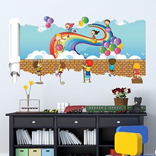 Netspower Wand Aufkleber Schöne Landschaft Reihen Wand Zitat Kunst Aufkleber Abziehbild Für Hauptschlafzimmer Dekorkorp Büro Wand Sprichwort Wandtapete-Regenbogen und Kind