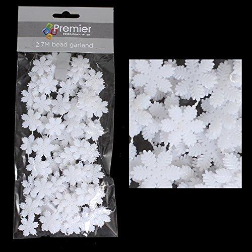Premier Décoration de Noël 2.7 metre Flocon de neige Guirlande de perle – Blanc