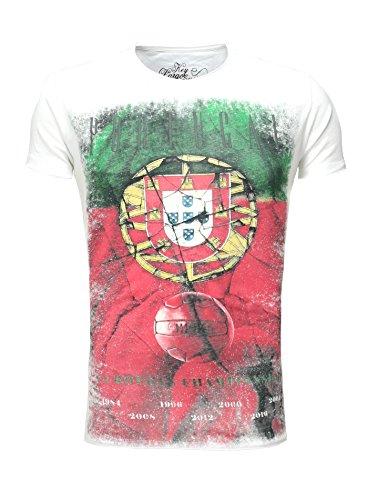 Key Largo Männer T-Shirt PORTUGAL Vintage Look Slim Fit Schnitt Flaggenmotiv Rundhalsausschnitt verwaschen Sommershirt Printshirt Weiß