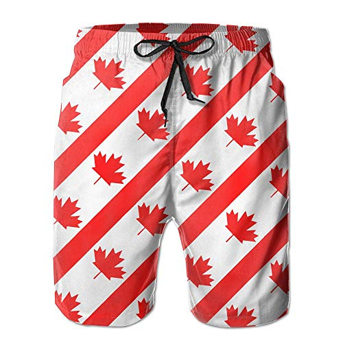XIAOYI Men's Canadian Symbol Maple Leaf Flag Summer Swim Trunks Beach Shorts - XL Vine Maple