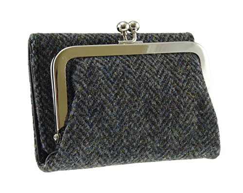 Ladies 100% Harris Tweed Charcoal Herringbone Rhum Clasp Wallet Purse With Card Section LB2004 COL1 New (Herringbone New)