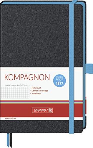 Brunnen 105572832 Notizbuch Kompagnon Trend (Hardcover, 12,5 x 19,5 cm, kariert, 192 Seiten) 1 Stück, hellblau