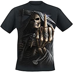 Spiral Bone Finger Camiseta Negro