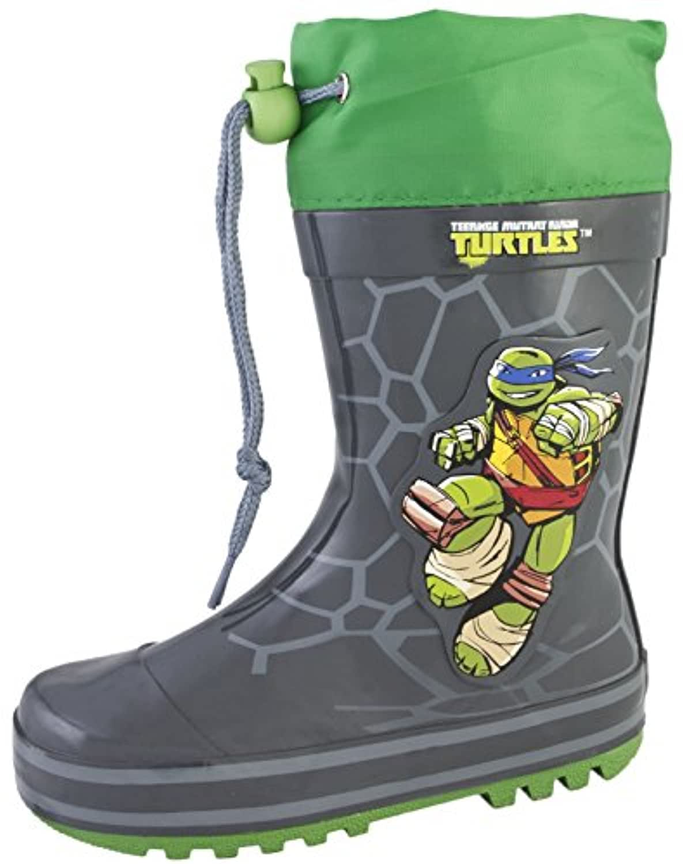 Teenage Mutant Ninja Turtles Wellington Boots Tie Top Rubber Rain Wellies Size UK 7-1
