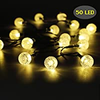Amazon outdoor string lights 50 led solar string lights outdoor waterproof solar powered garden lights iihome 22feet crystal ball decorative mozeypictures Choice Image