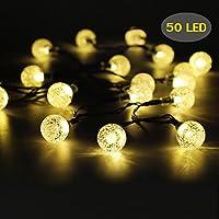 Amazon outdoor string lights 50 led solar string lights outdoor waterproof solar powered garden lights iihome 22feet crystal ball decorative aloadofball Gallery