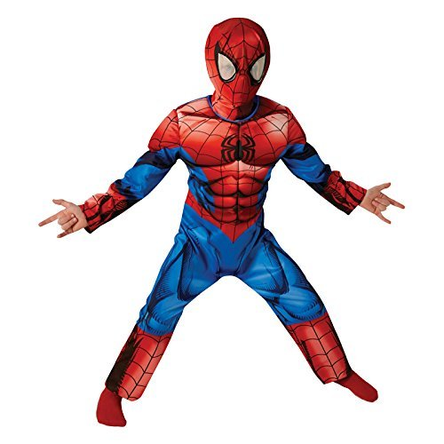 GFFLYY Kinder Premium Deluxe Ultimate Spider-Man Kostüm Baby Cosplay Halloween Weihnachten Phantasie Requisiten Druck Overall Partykleid Lycra Strumpfhose,S