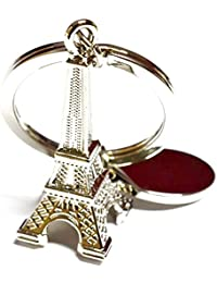 Cable World Eiffel Tower Keychain - (8cmL X 6cmB, Silver)