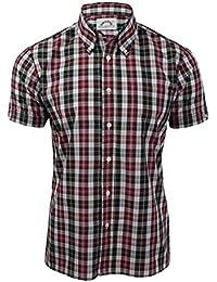 Trimfit - Camisa casual - Cuadrados - con botones - Manga corta - para hombre