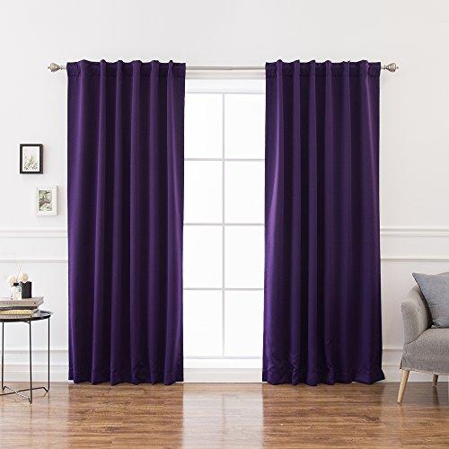 Best Vorhang zur Wärmedämmung, Polyester-Mischgewebe, violett, 52W x 84L-Each Panel Violet Solid Tie