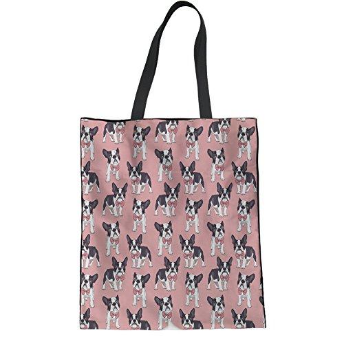 HUGS IDEA Boston Terrier Linen Tote Bag Ladies Hipster Shoulder Bag Beach Yoga Casual Handbags -