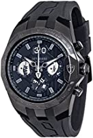 DETOMASO Adrenaline Junkie Men's Quartz Watch with Black Dial Analogue Display and Black Silicone Bracelet Dt-Yg103-E