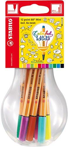 STABILO point 88 Mini Colorful Ideas - Lampadina con 12 point 88 Mini colori assortiti