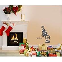 60 cm x 32 cm Tamaño de navidad color gris ratón de Mickey con nombre elegido, nombre, nombre personaliseitonline, árbol de Navidad, infantil, vinilo del coche, las ventanas y pared, ventanas de pared arte, etiquetas de Navidad, adorno adhesivo de vinilo ThatVinylPlace