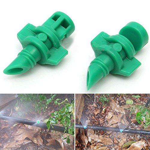 50Drip irriagtion Kit Zerstäuberfunktion Wasserspender Zerstäuber Sprinkler Drip Köpfe mit T-Stecker für Bewässerung Free Size Green/50pcs - Wasserspender-kits