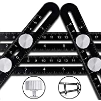 Angleizer Template Tool CRAZYLYNX Multi Angle Measuring Ruler Premium Aluminum Alloy Easy Angle Ruler,Precise Angle Ruler with Free Protective Pouch for DIY Handymen Builders Carpenters