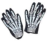 Das Kostümland Skelett Handschuhe mit Totenkopf Ringen - beleuchtet - Gruselige Knochen Handschuhe mit Leuchtenden Ringen Halloween