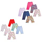 #7: Baybee Premium Quality Baby Cotton Pajamas Leggings with Free Bottom for New Borns - Unisex (Random Colors and Prints) Pack of 12