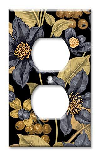 Wandplatte, Übergröße, Blumen-Design, Schwarz/goldfarben Steckdose Mehrfarbig -