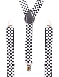 Accessoryo - Hommes élastique et réglable en noir et blanc à damiers Imprimer accolades pantalons