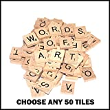 50 Wooden Scrabble Tiles of Your Choice (pick 'n' mix) INCLUDES A FREE KEYRING WITH YOUR INITIAL