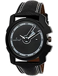 HASHTAG Analogue Quartz Jet Black Watch for Men - Hashtag-htc118acr-mbk-bw