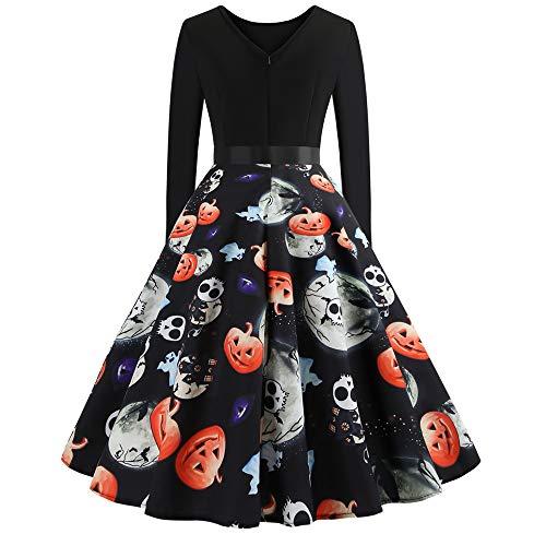 Halloween Impresión Retro Gran Péndulo Vestido,Beikoard 2018 Halloween De La Mujer De Manga Larga O Cuello De Impresión Vintage Vestido De Fiesta