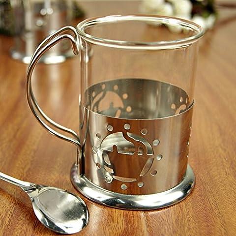Outgeek vetro in acciaio inox Base caffè tazza Mug con