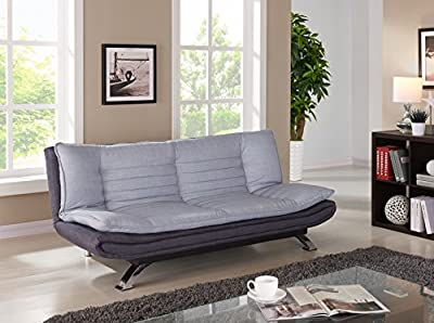 Fabric 3 Seater Sofabed in Duck Grey/Charcoal Fabric with Chrome Legs - inexpensive UK light store.
