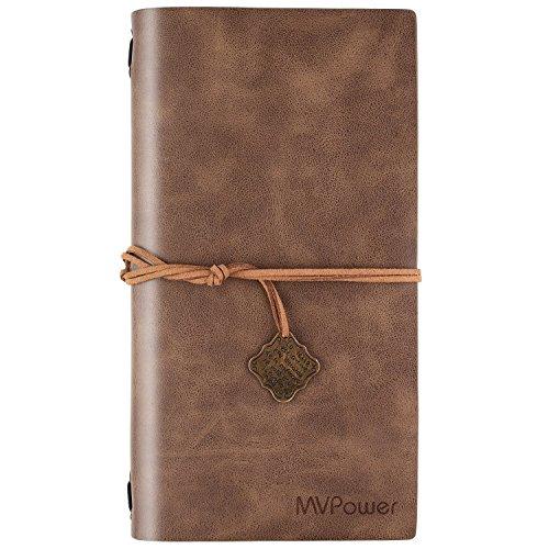 MVPOWER Reisetagebuch Leder Blanko, Travel Diary Notizbuch Nachfüllbar, Klein Tagebuch mit Vintage Design, Skizzenbuch für Journal und Anmerkung, Lederbezug Kaffee 22x12x1.9 cm