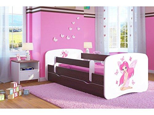 CARELLIA Kinderbett Fee und Papillon, 80 x 180 cm, mit Sicherheitskastenschutz, Bettkasten und Matratze. - WENGE -